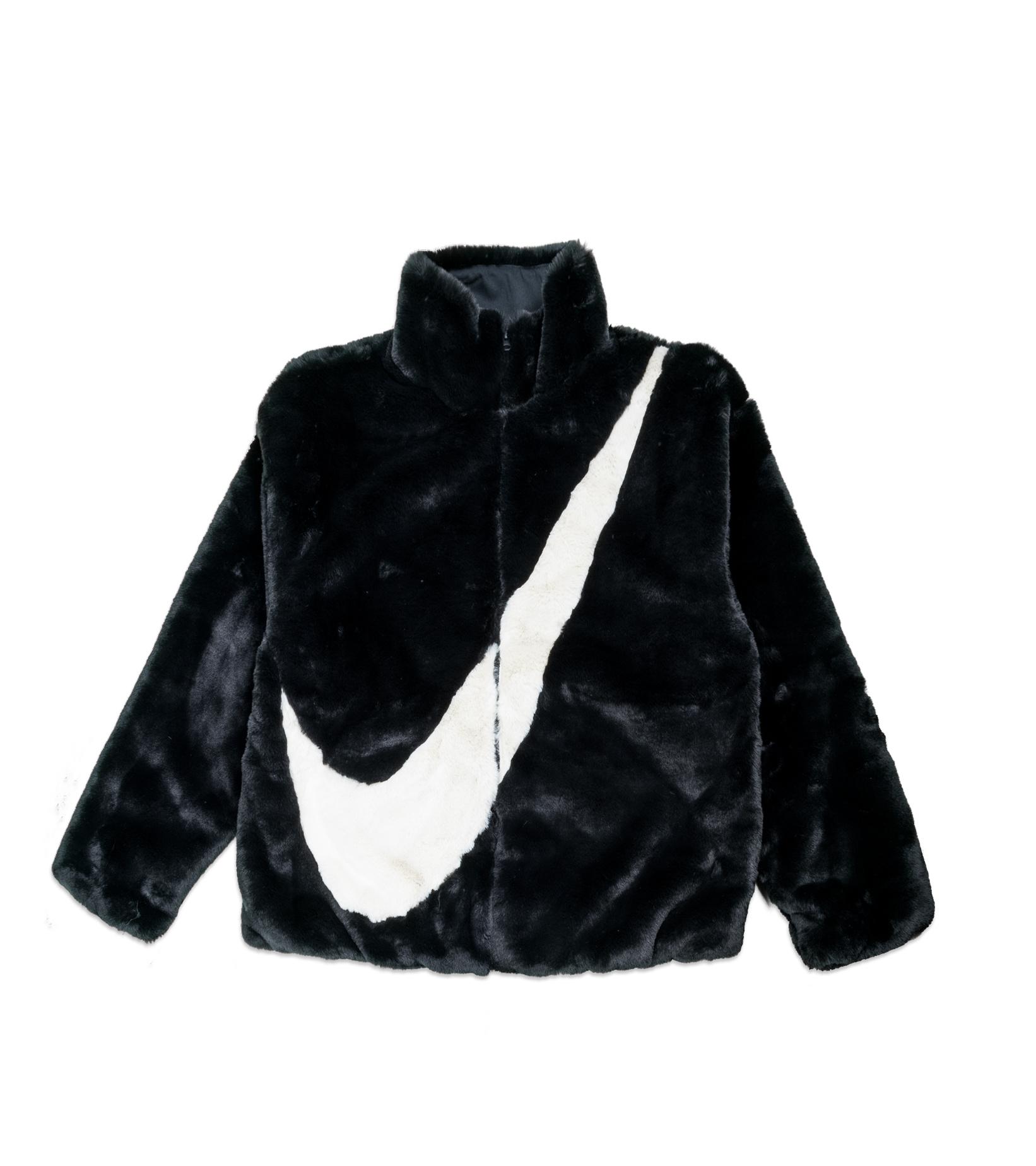 """Swoosh Faux Fur Jacket """"Black/Fossil""""-1"""