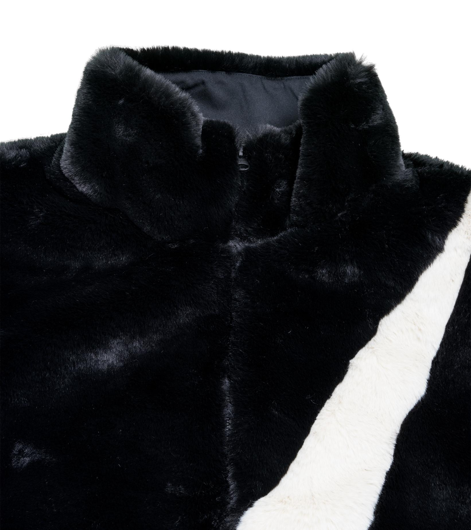 """Swoosh Faux Fur Jacket """"Black/Fossil""""-3"""