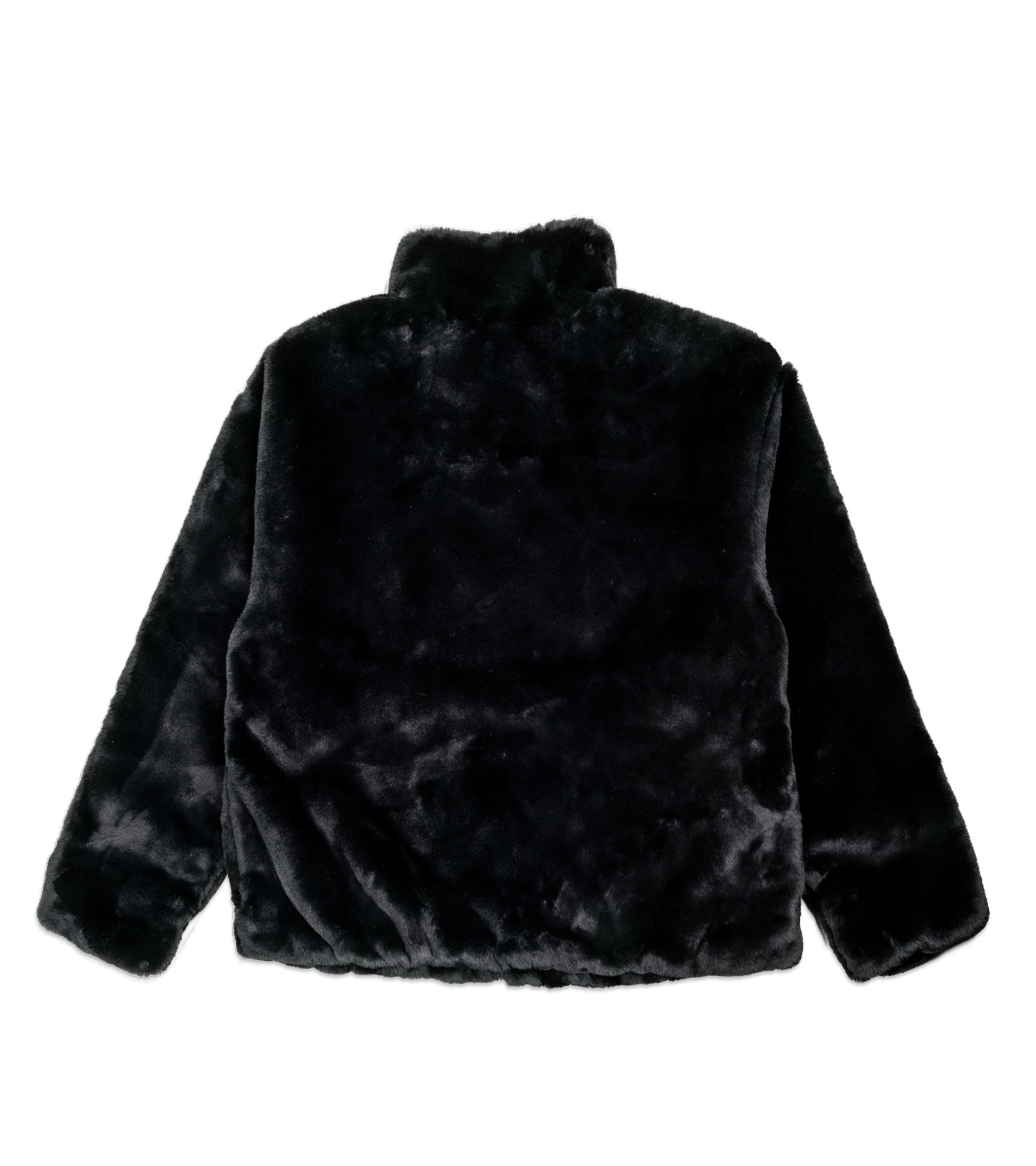 """Swoosh Faux Fur Jacket """"Black/Fossil""""-4"""