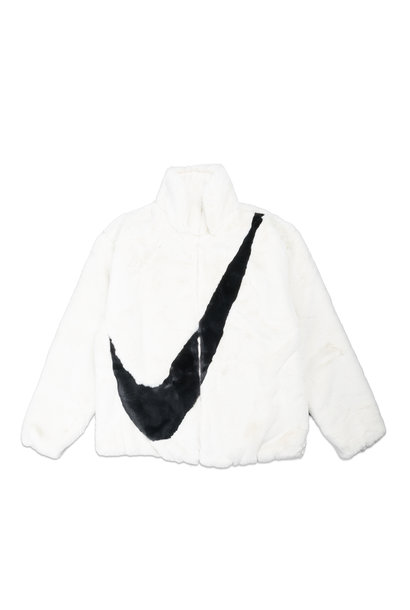 "Swoosh Faux Fur Jacket ""White/Fossil"""