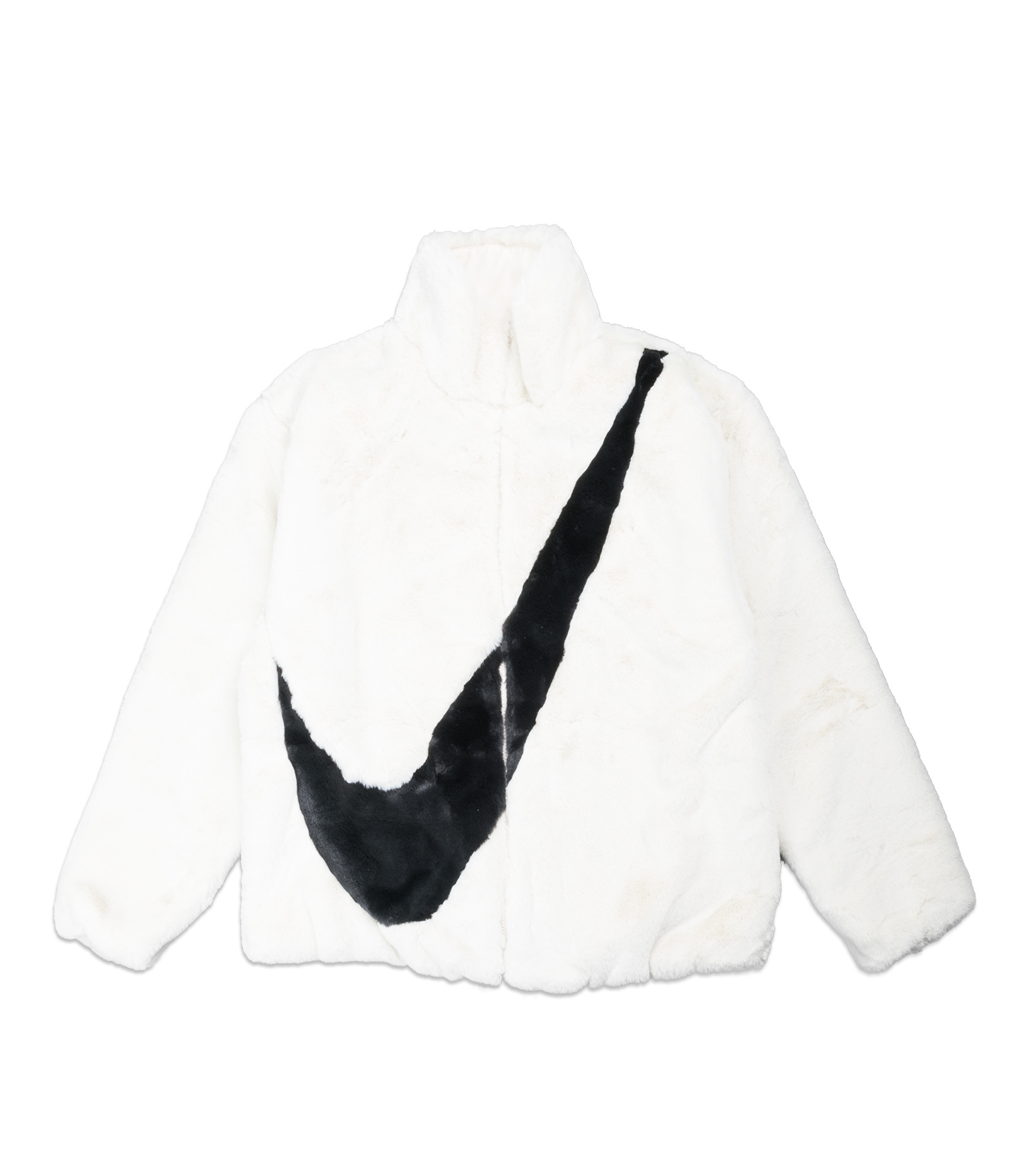"Swoosh Faux Fur Jacket ""White/Fossil""-1"