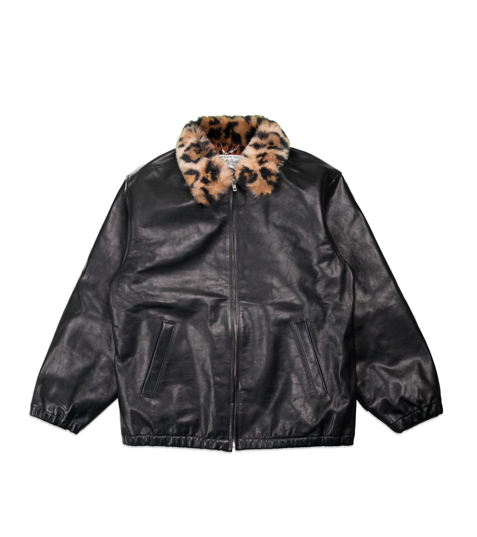 "50's  Mouton Collar Leather Jacket ""Black""-1"