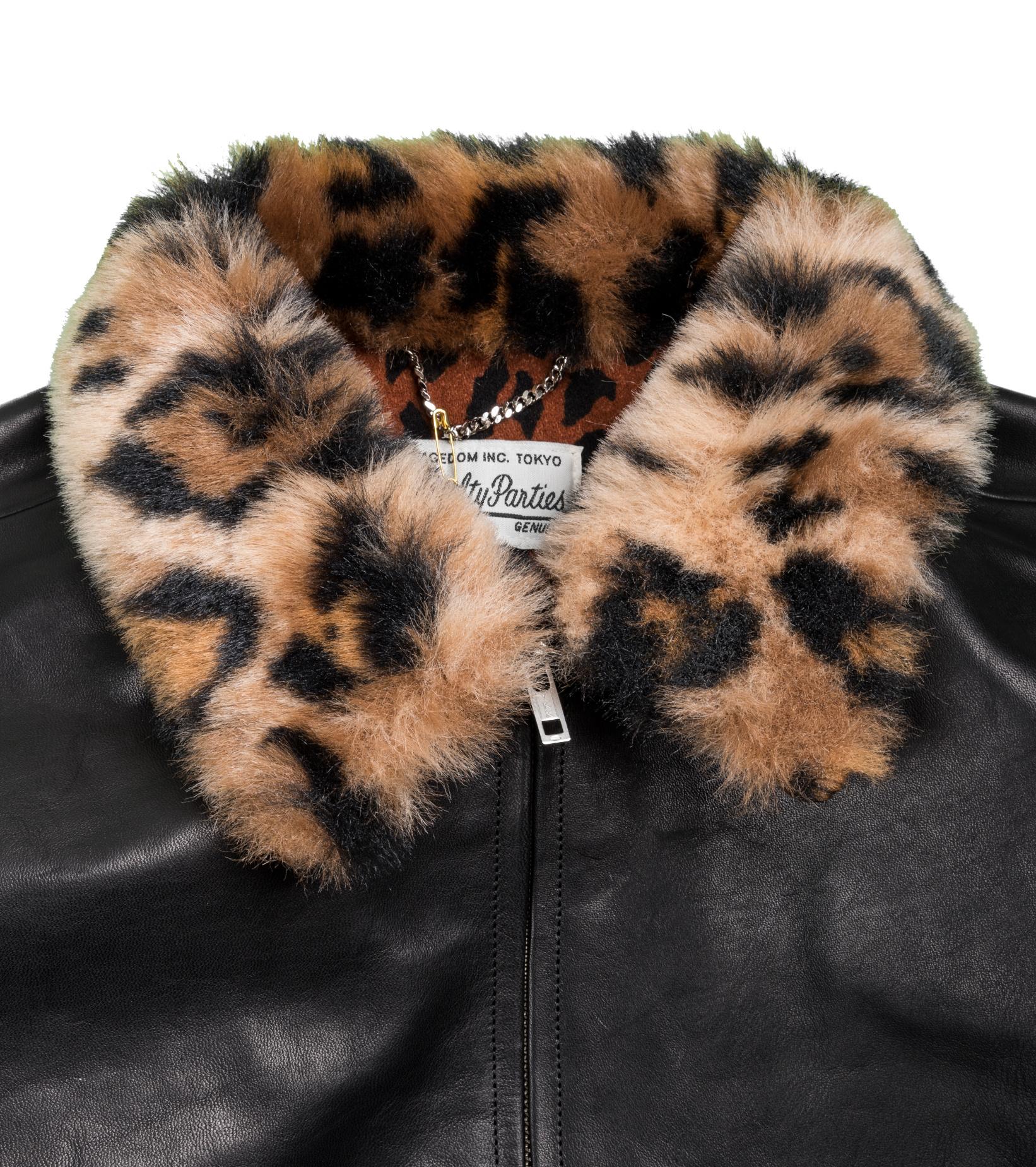 "50's  Mouton Collar Leather Jacket ""Black""-2"