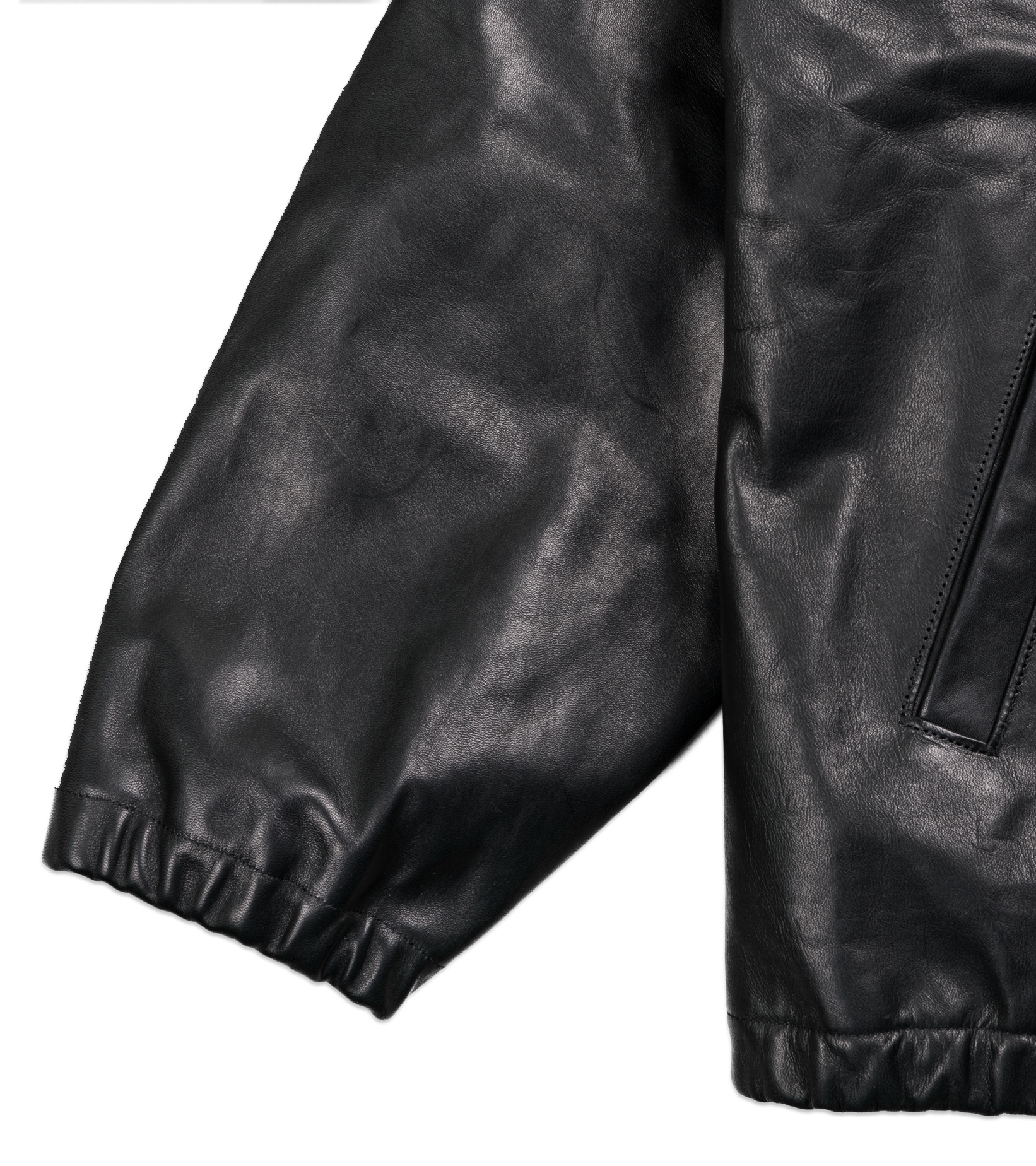 "50's  Mouton Collar Leather Jacket ""Black""-4"