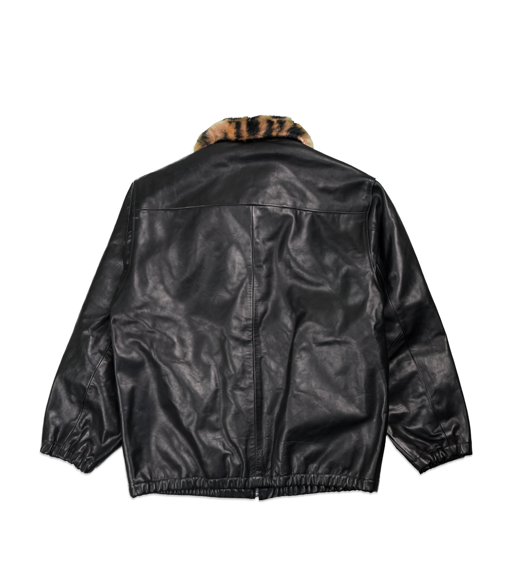"50's  Mouton Collar Leather Jacket ""Black""-5"