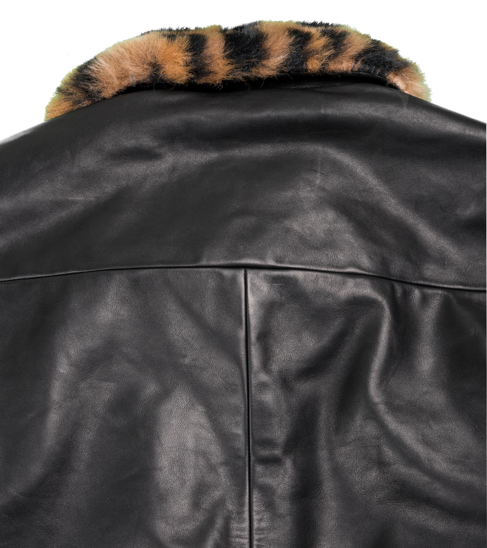 "50's  Mouton Collar Leather Jacket ""Black""-6"