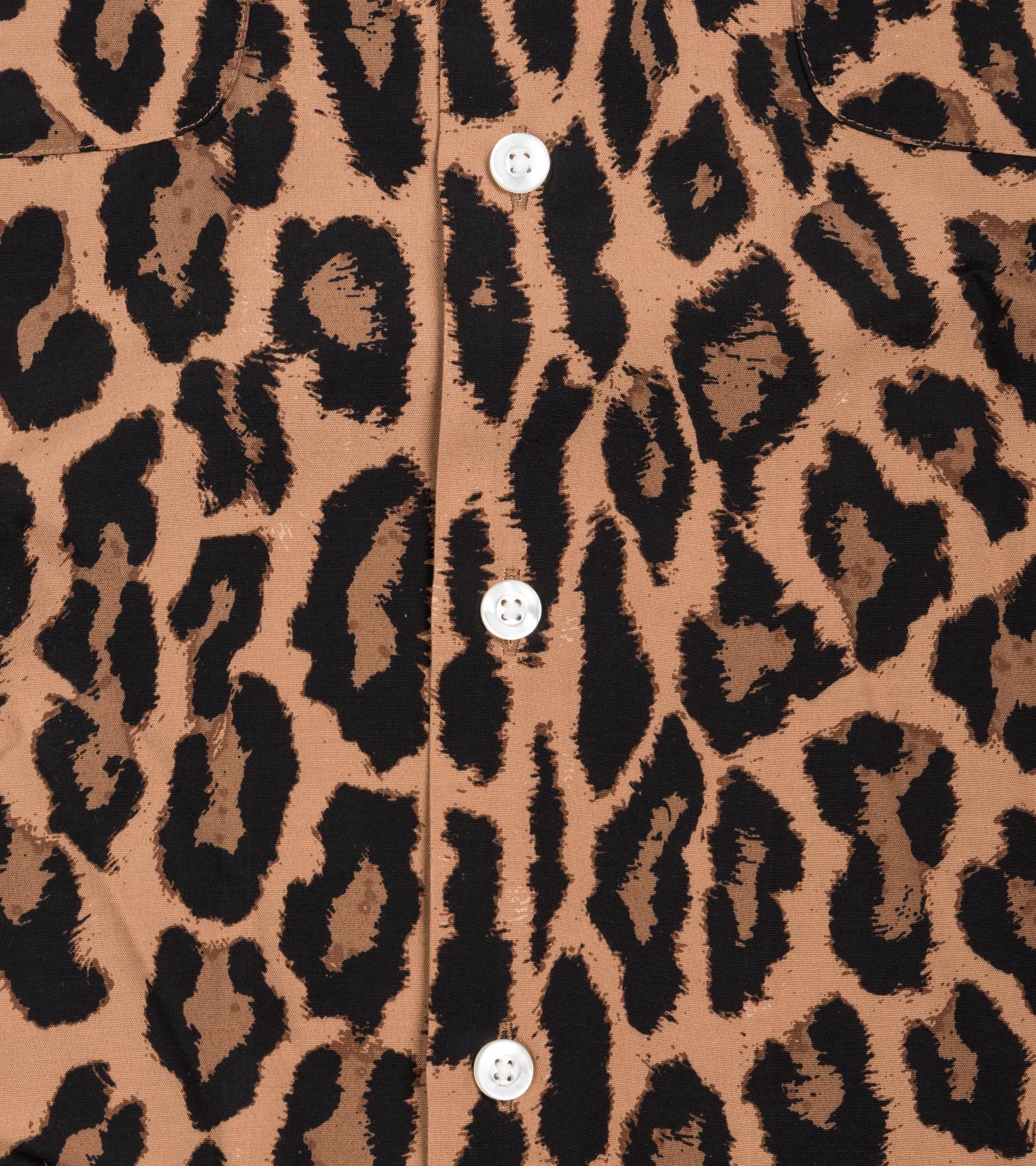 "Hawaiian Leopard Rayon Shirt ""Dark Brown""-3"