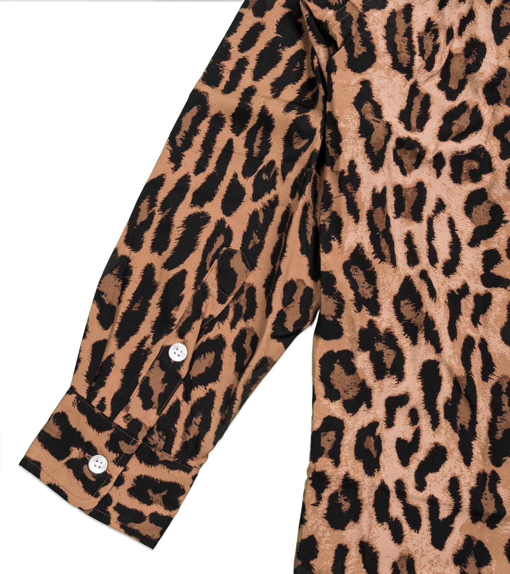 "Hawaiian Leopard Rayon Shirt ""Dark Brown""-5"