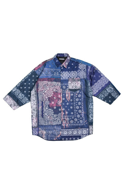 "3 Quarter Bandana Quilted Shirt ""Navy"""