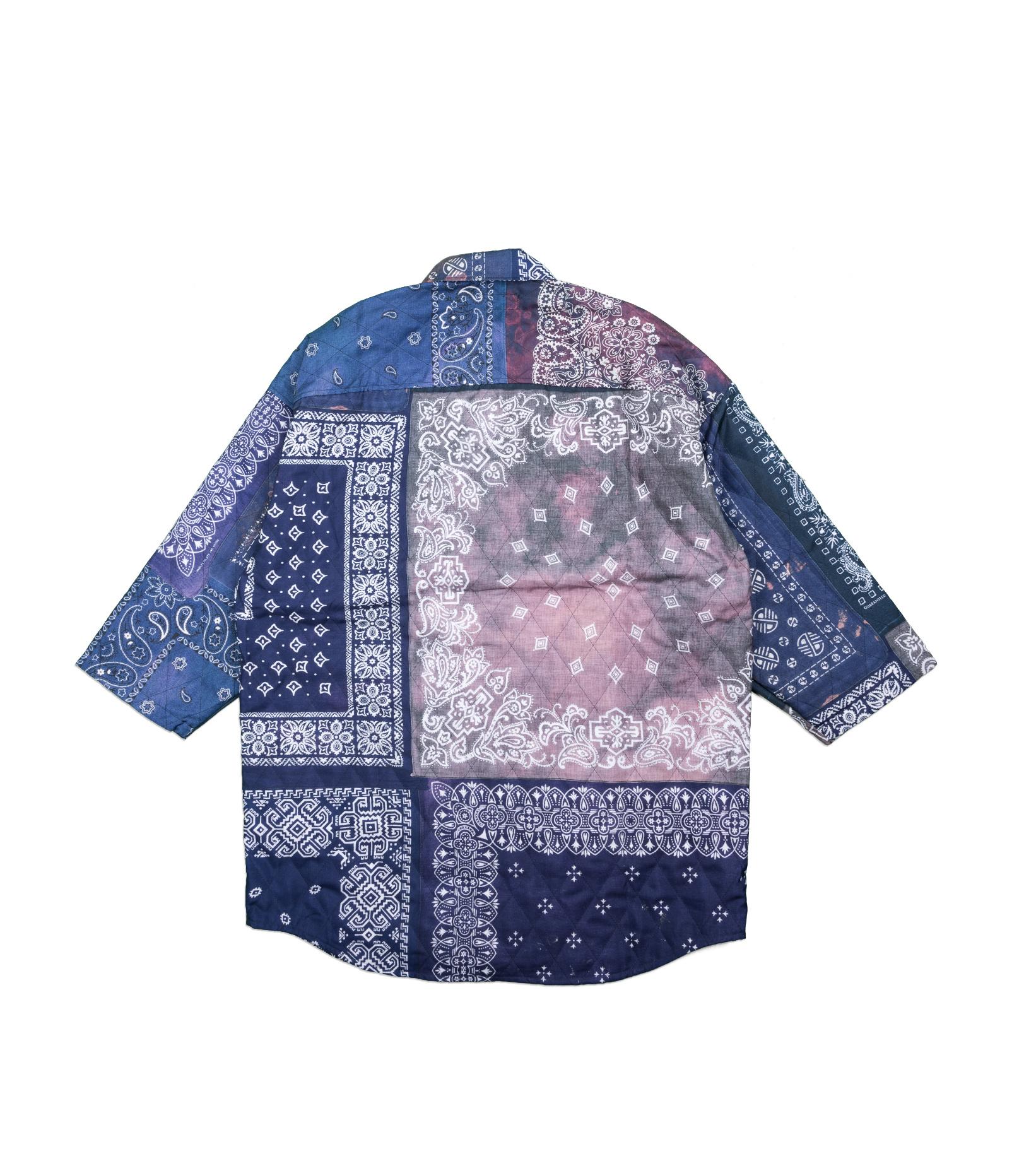 "3 Quarter Bandana Quilted Shirt ""Navy""-5"
