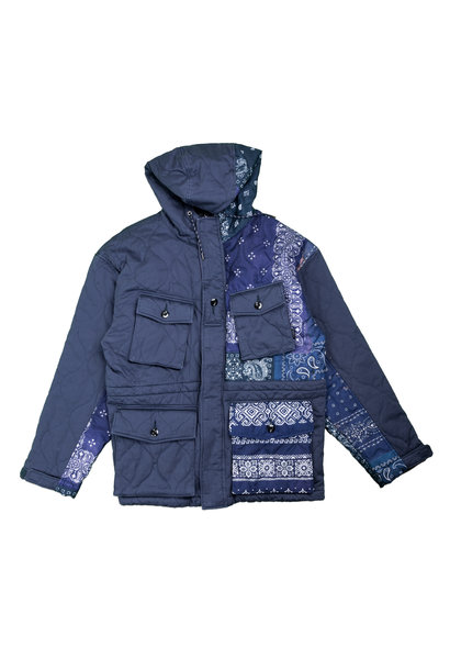 "Quilted Bandana Smock Jacket ""Navy"""