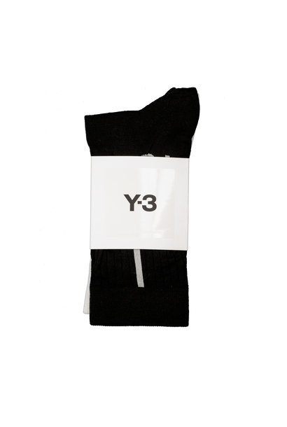 "Y-3 Crew Socks (2-Pack) ""Black/White"""