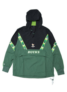 """Mitchell & Ness Milwaukee Bucks Half Zip Anorak """"Green/Black"""""""