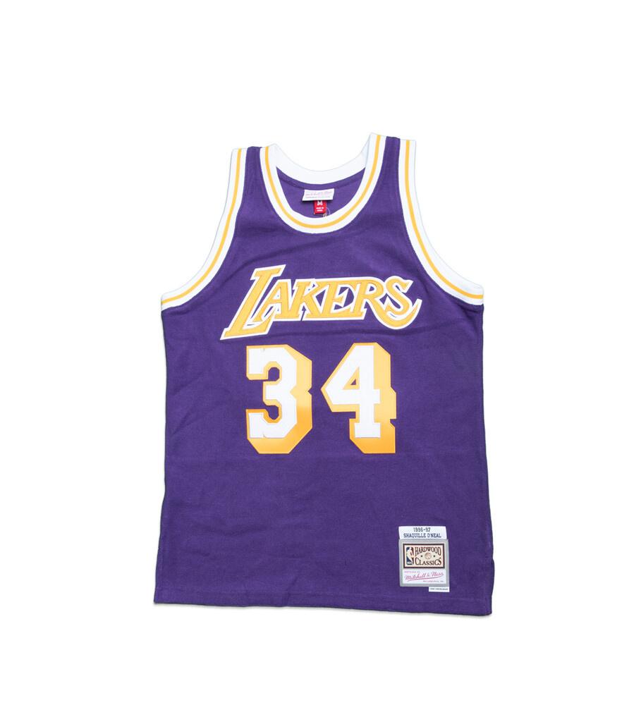 """LA Lakers '96-'97 S. O'Neal Fleece Jersey """"Purple""""-1"""