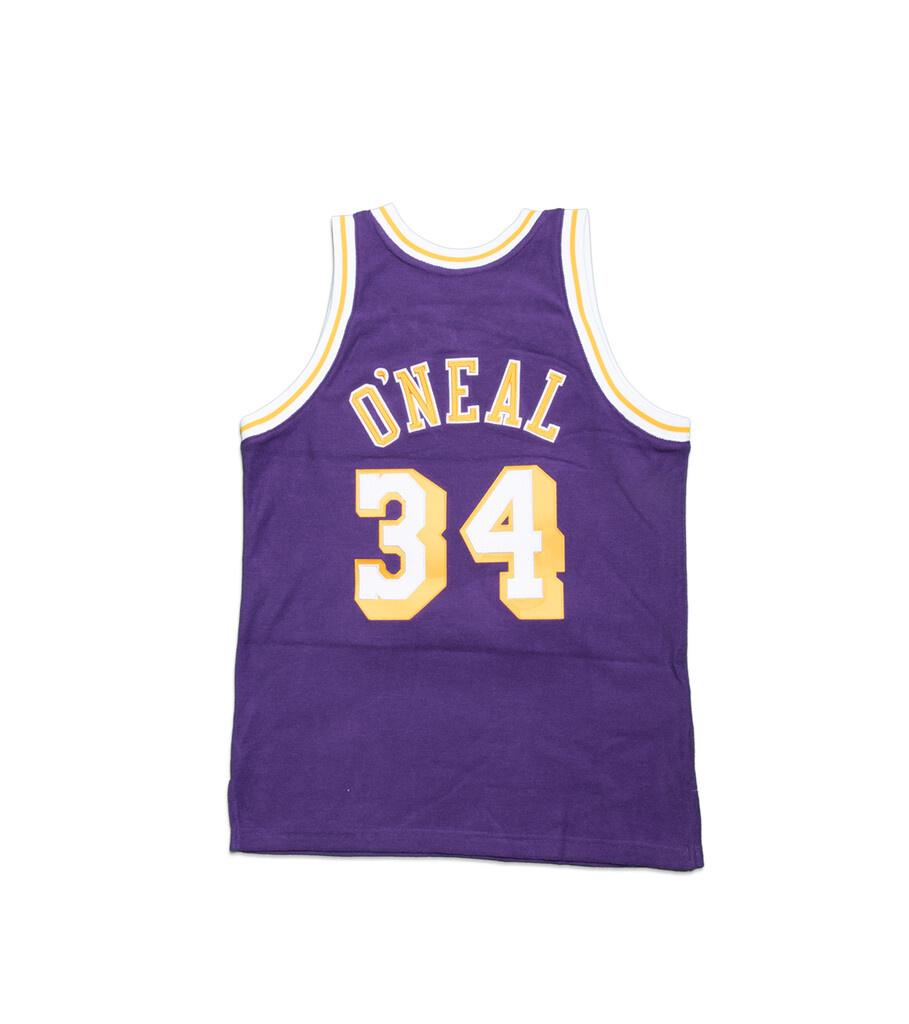 """LA Lakers '96-'97 S. O'Neal Fleece Jersey """"Purple""""-3"""