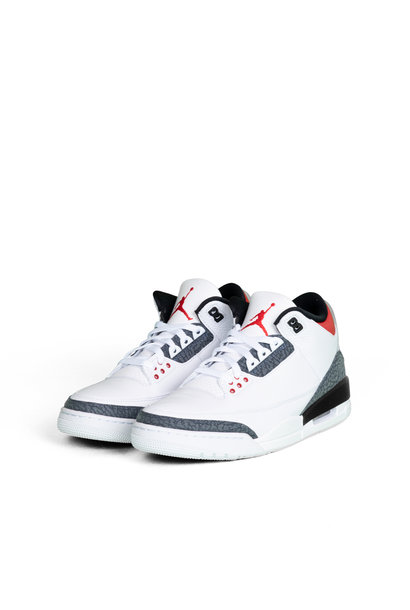 "3 Retro SE Denim ""White/Fire Red"""