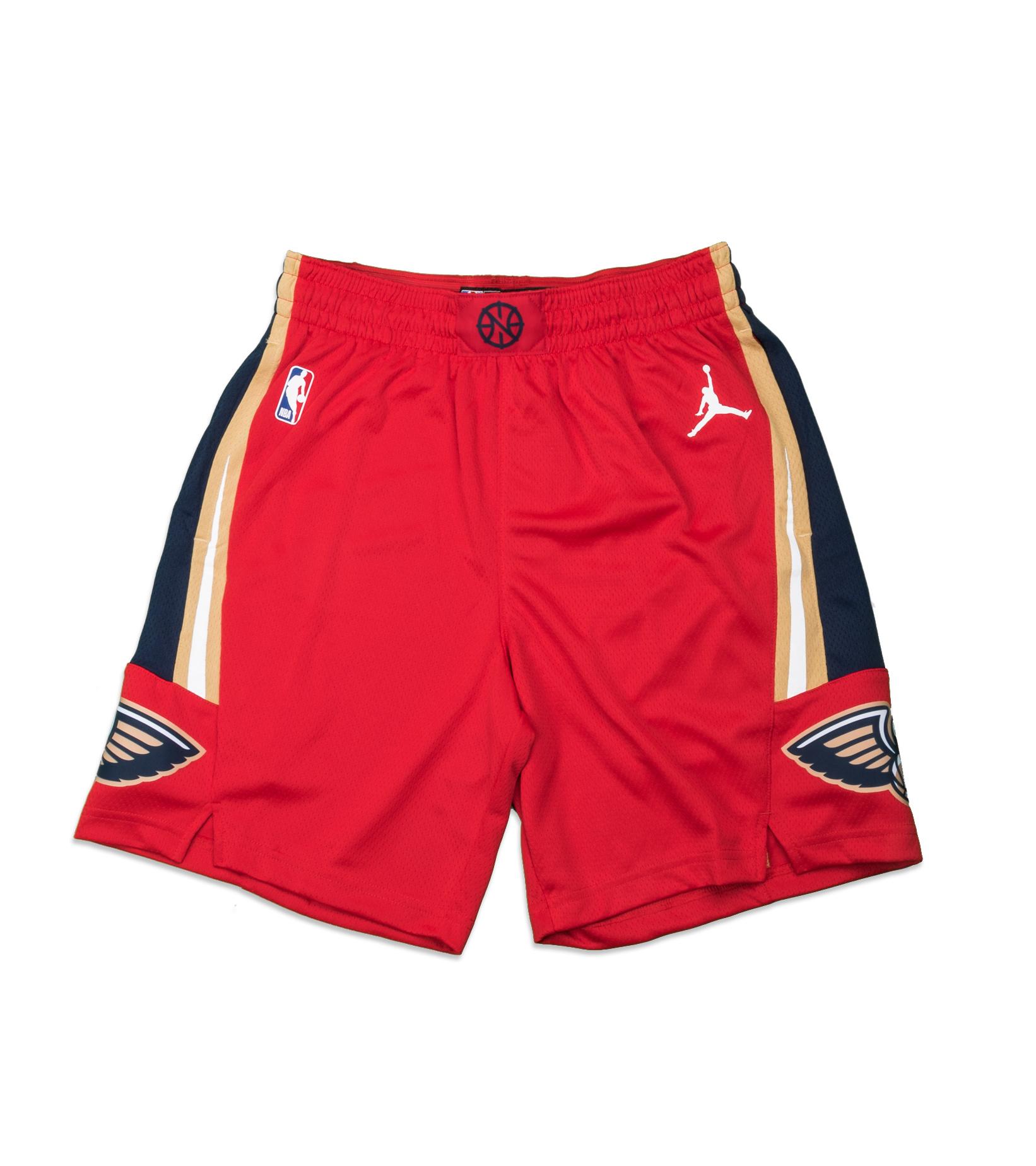 "New Orleans Pelicans Statement Edition '20 Swingman Short ""University Red/College Navy""-1"