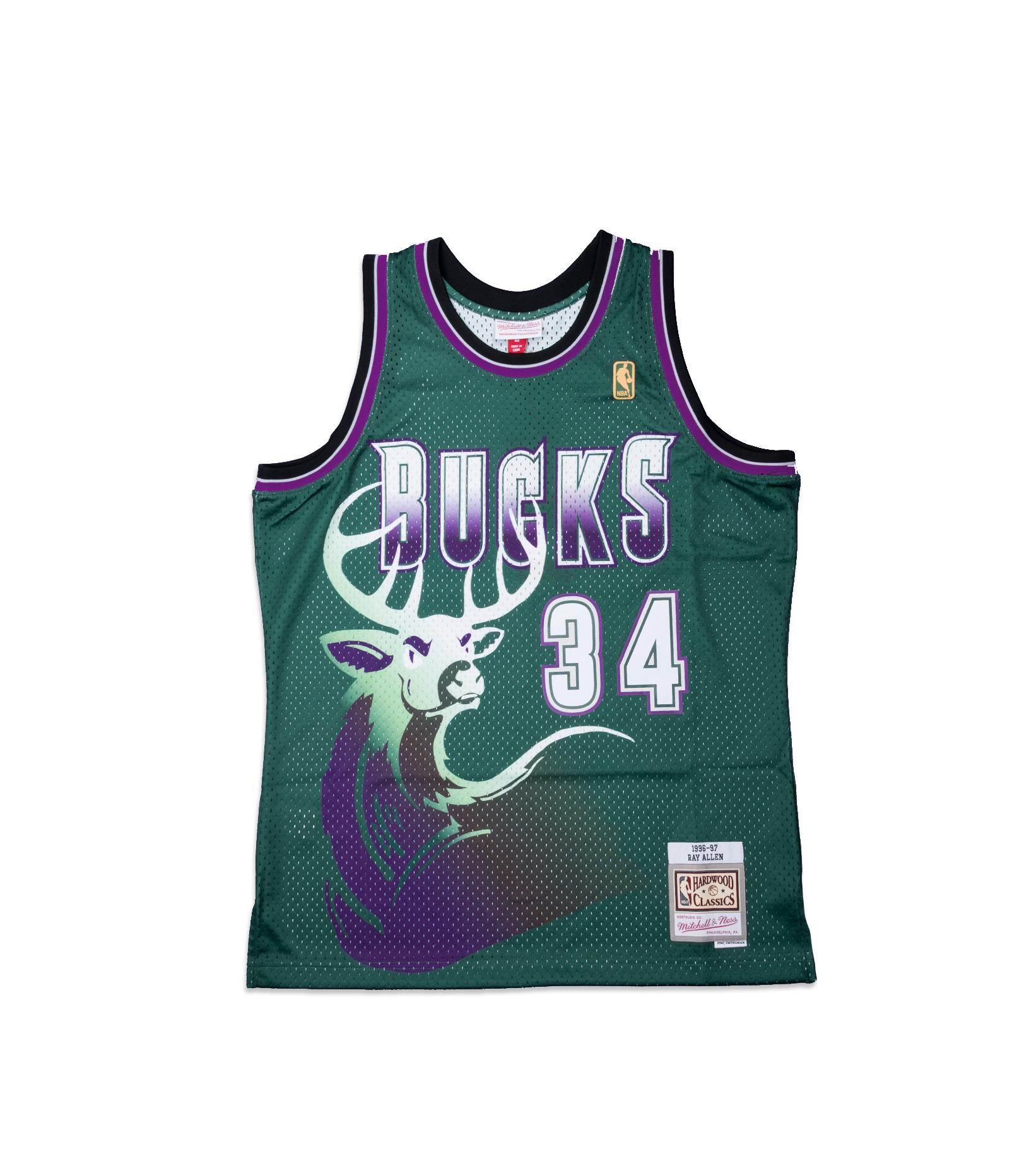 "Milwaukee Bucks '96-'97 R. Allen Swingman Jersey ""Dark Green""-1"