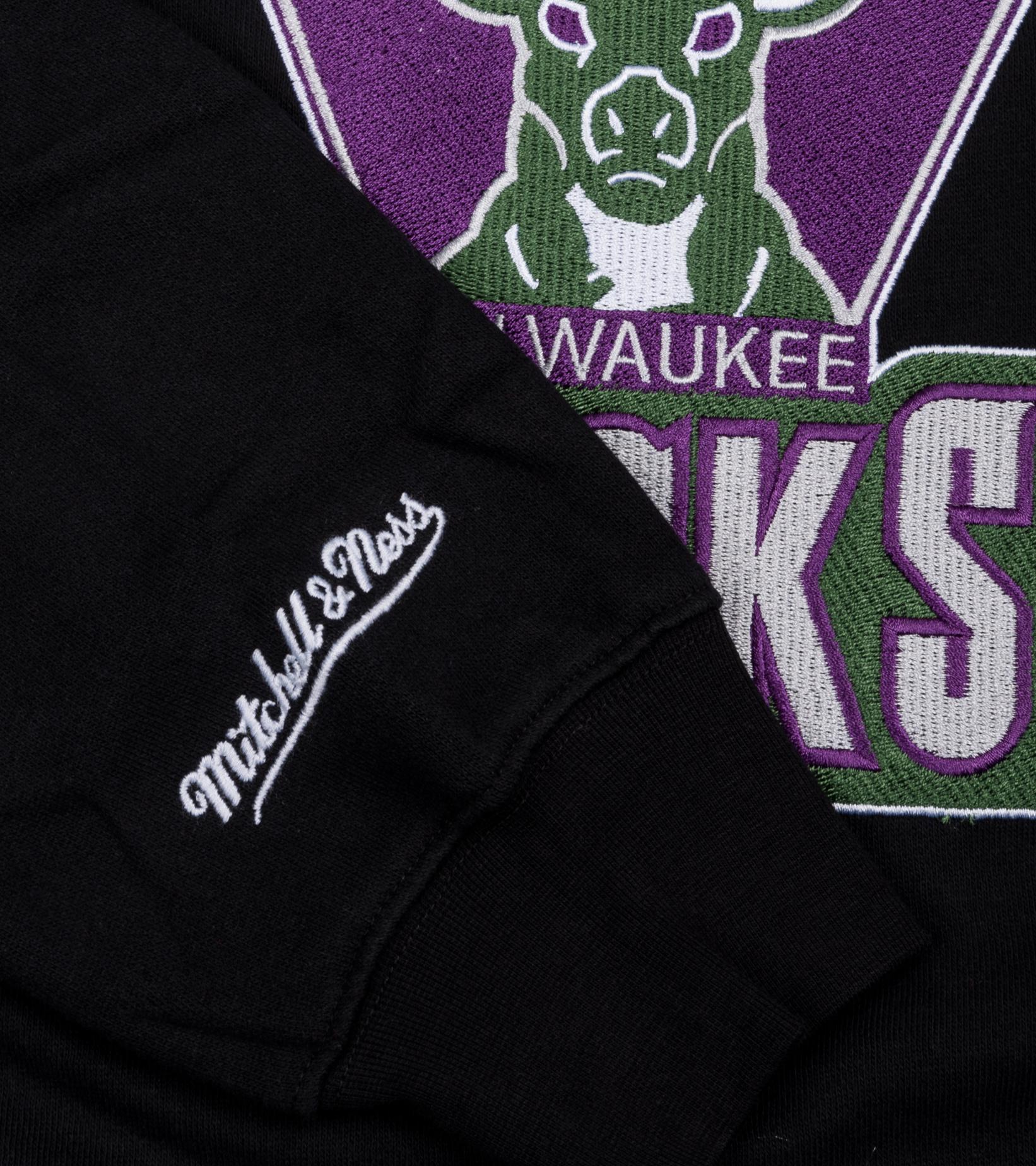 """Milwaukee Bucks Embroidered Sweatshirt """"Black""""-4"""