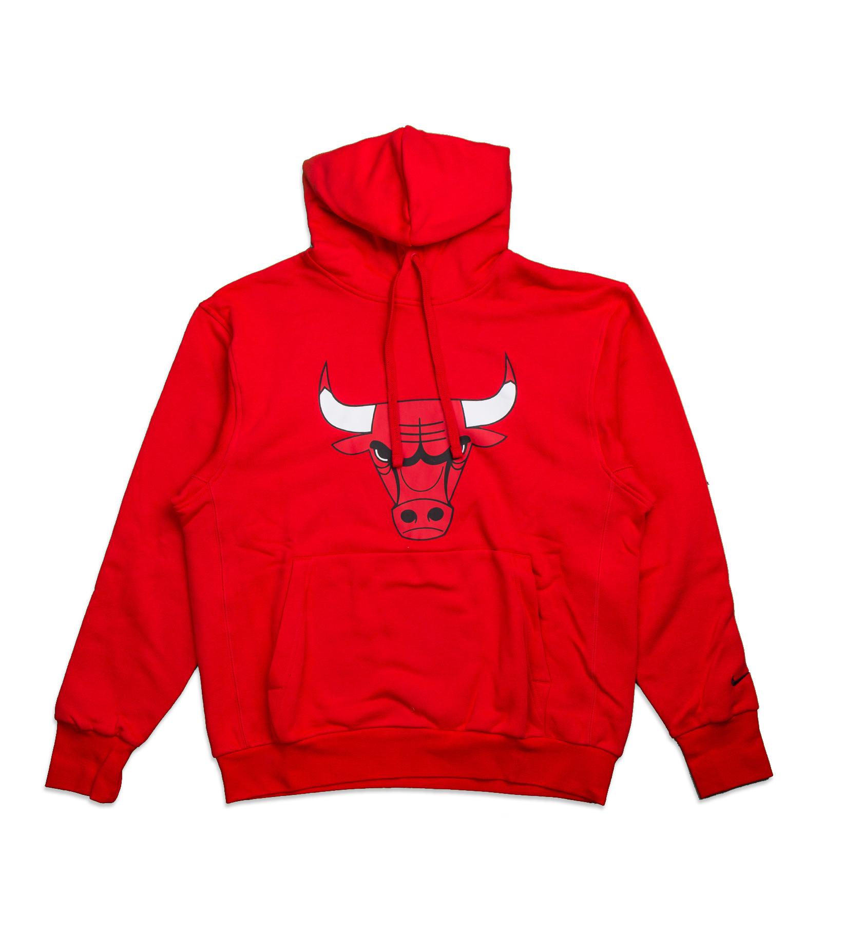 "Chicago Bulls Logo Essential Hoodie ""University Red/Black""-1"
