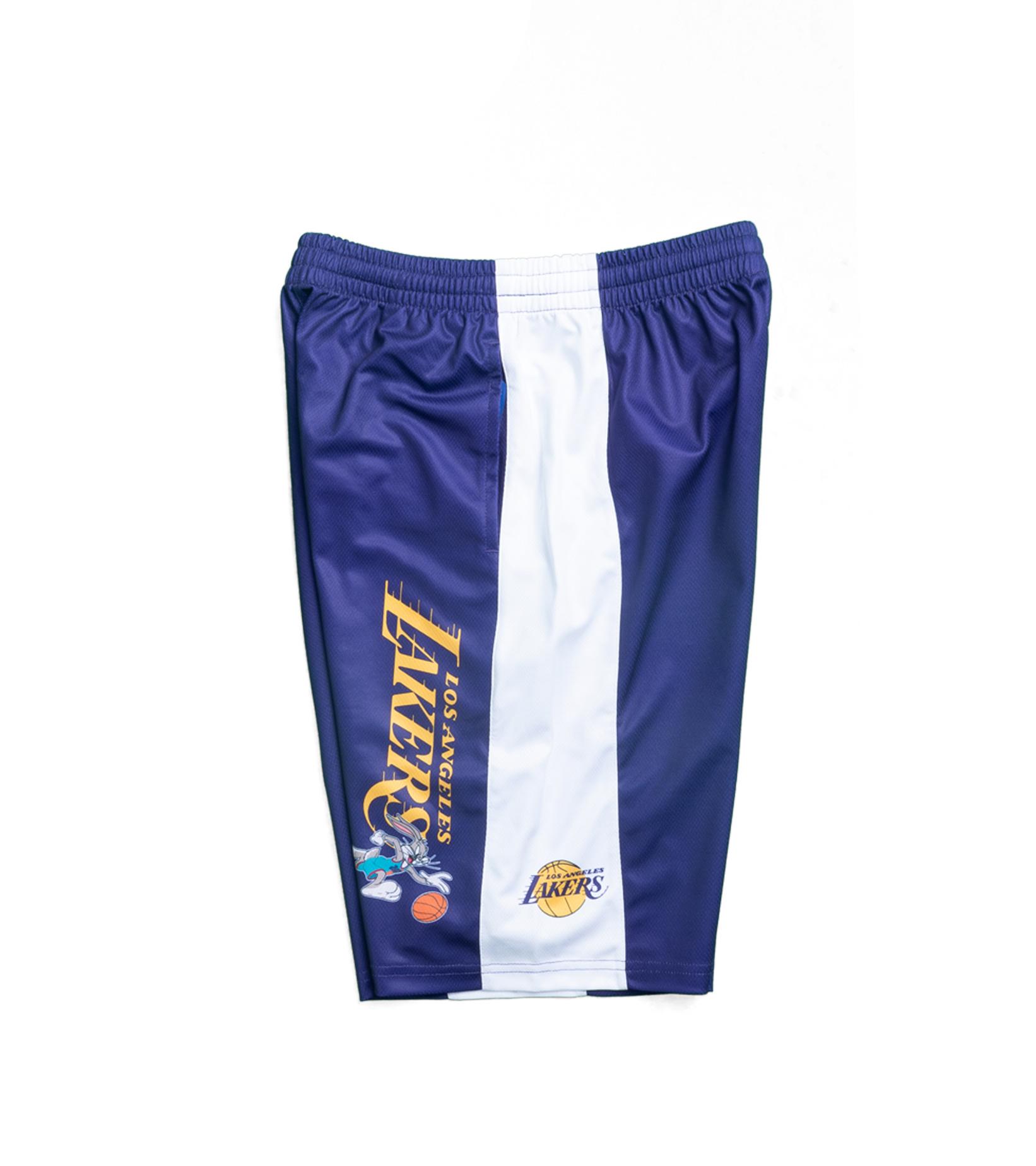 "LA Lakers Team Backboard Block Mesh Short (Youth) ""Purple""-3"
