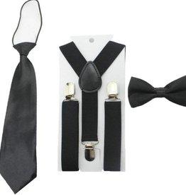 Bo en Belle Accessoire set zwart: stropdas/bretels/strikje
