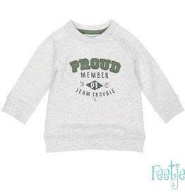 Feetje Sweater Proud Team Trouble' grijs melange