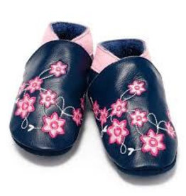 Baby Dutch Lederen slofjes flower power blue
