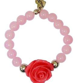LoveLinn Armband roze roos 14,5cm