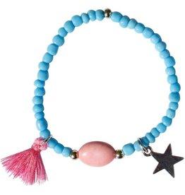 LoveLinn Ibiza armband licht blauw +/- 12cm