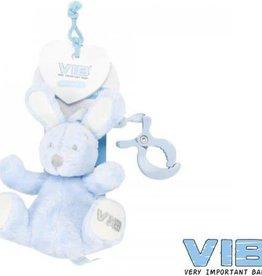 VERY IMPORTANT BABY Pluchen konijn met clip en trekkoord blauw