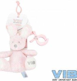 VERY IMPORTANT BABY pluchen konijn met clip en trekkoord roze