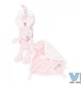 VERY IMPORTANT BABY Konijn met doekje pluche roze
