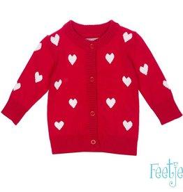 Feetje Vest 'Kiss me' rood hartjes