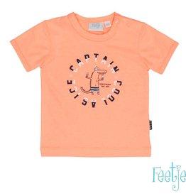 Feetje Feetje T shirt k/m Captain cool neon oranje.