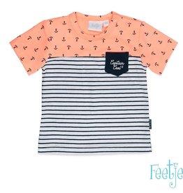 Feetje Feetje SET  T- shirt neon oranje met Short marine.