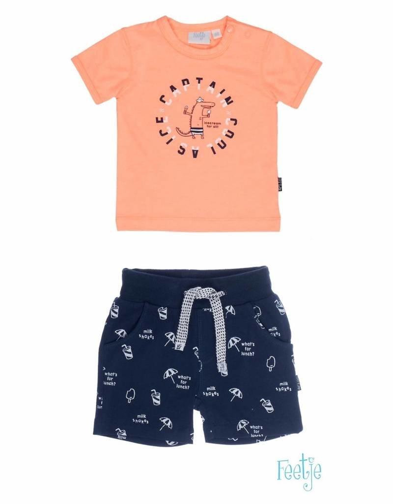 3783979fb5e448 Feetje set Shirt & short Captain Cool Orange - Bo en Belle kinderkleding