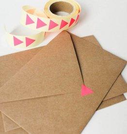 Sluitsticker driehoek • Fluo roos