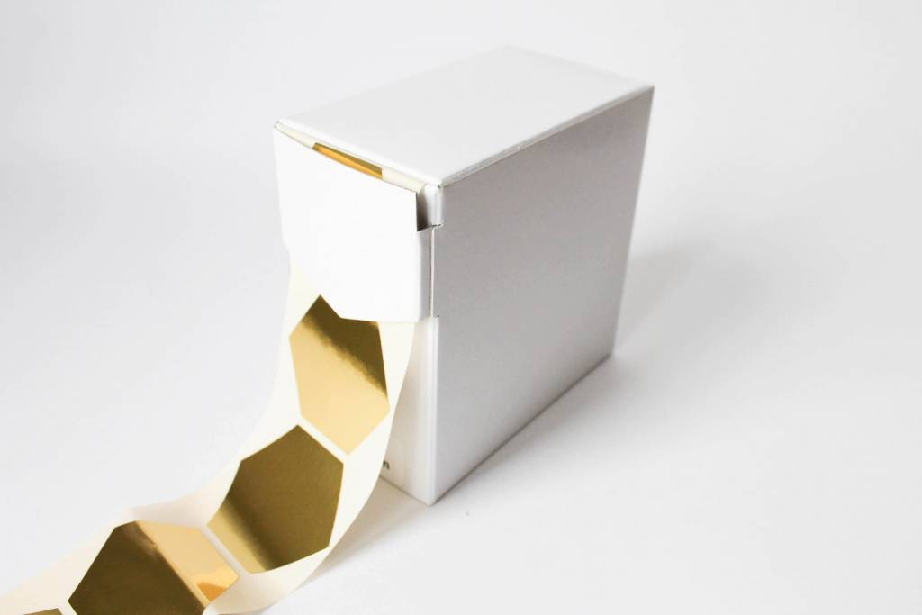 Sticker zeshoek goud • per 10 stuks