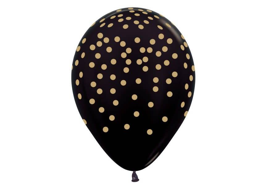 Ballon zwart gouden stip