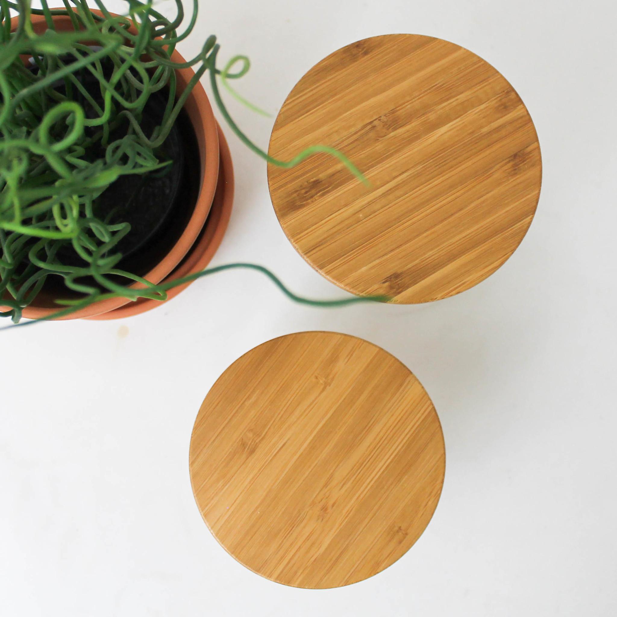 Uitdeelpot bamboo deksel