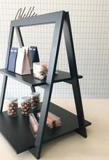 Driehoekig rekje 2 planken zwart