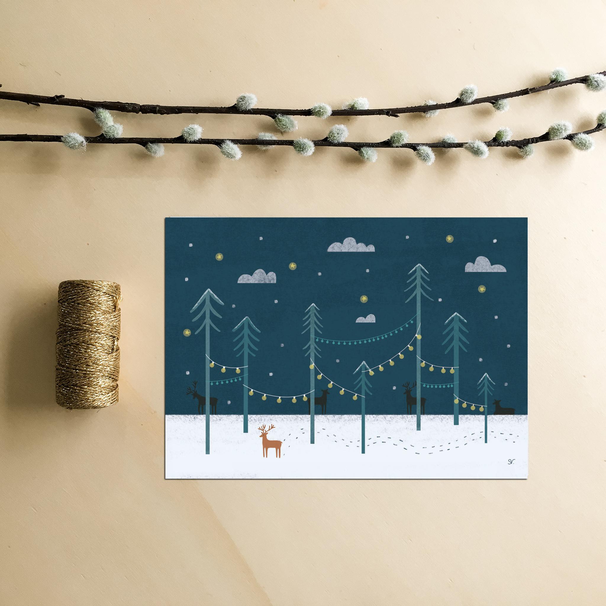 Kerstkaart Rendieren