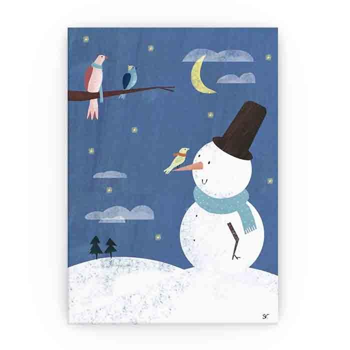 Kerstkaart Sneeuwman