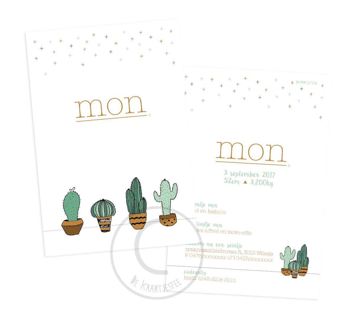 Geboortekaartje Mon