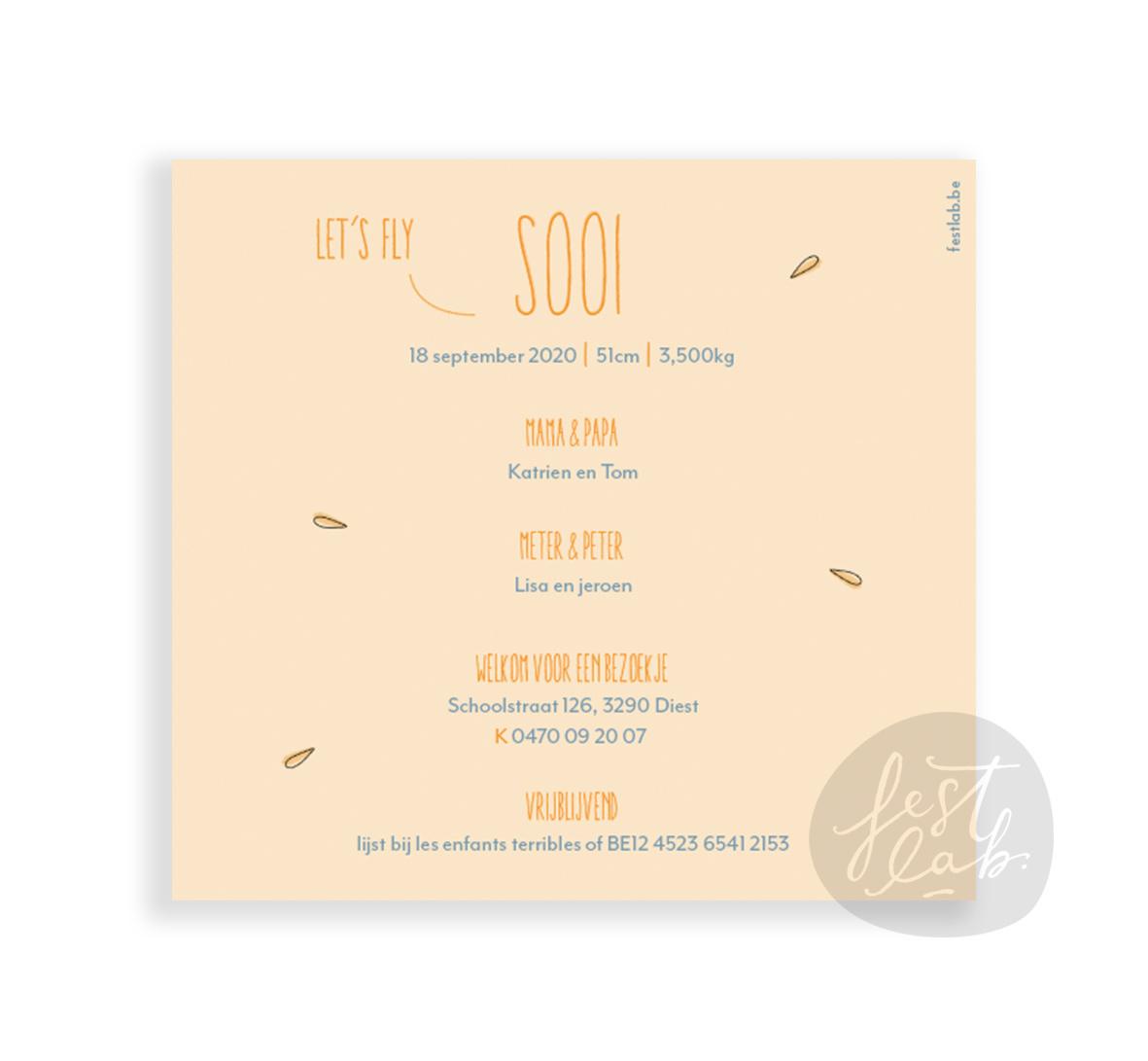 Geboortekaartje Sooi