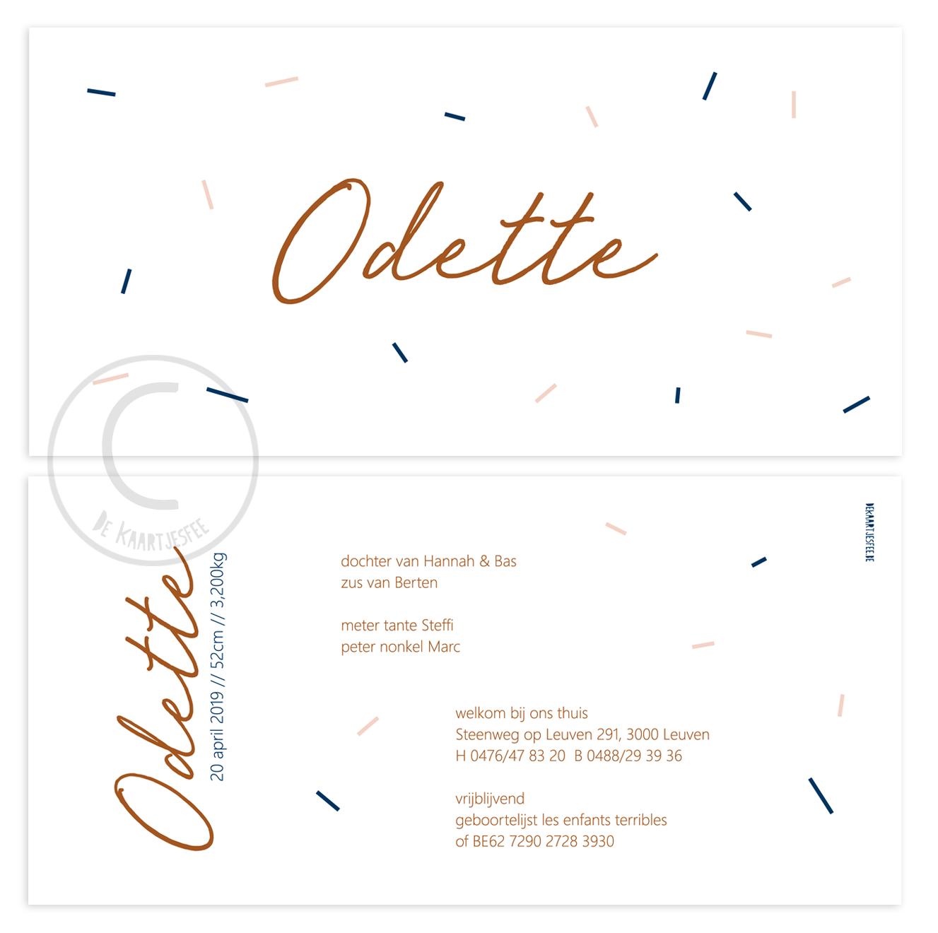 Geboortekaartje Odette