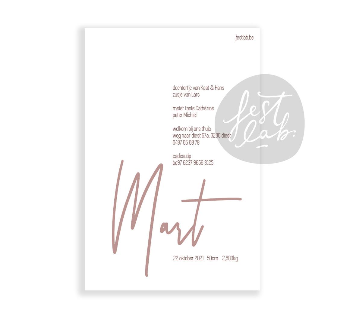Geboortekaartje Mart