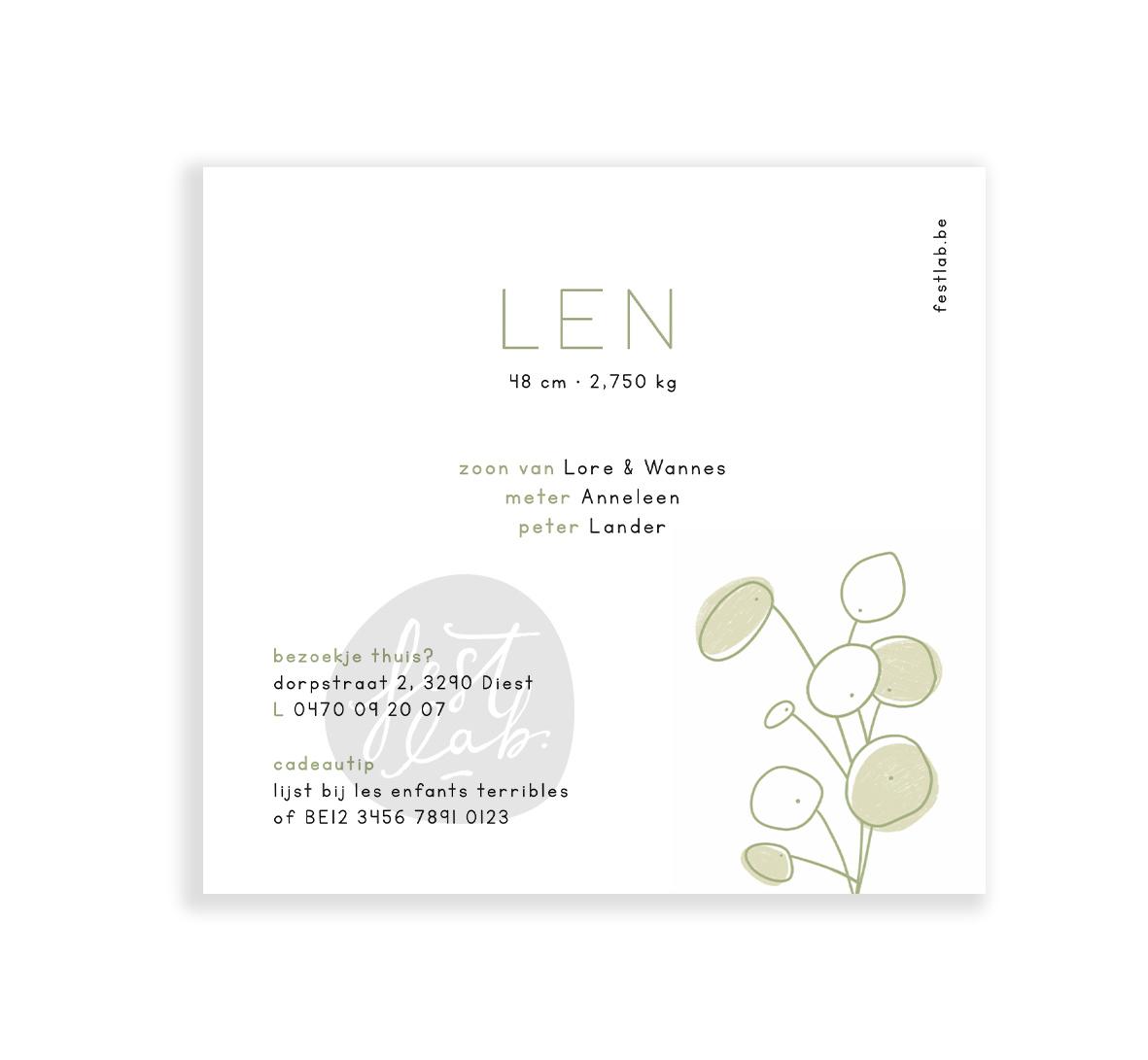 Geboortekaartje Len