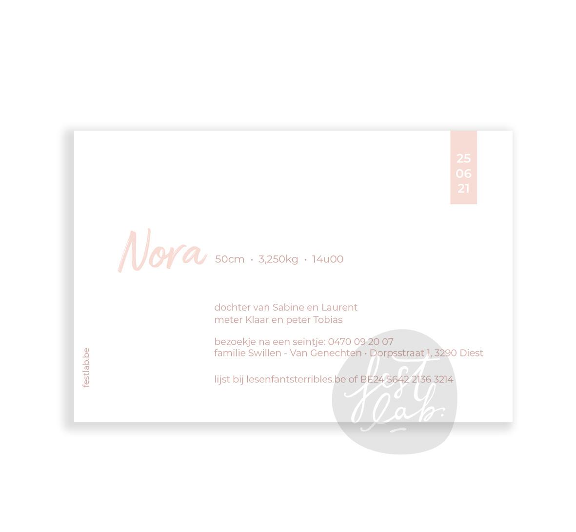 Geboortekaartje Nora